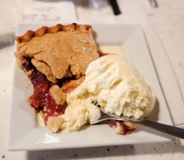 Strawberry and Rhubarb Pie A la mode